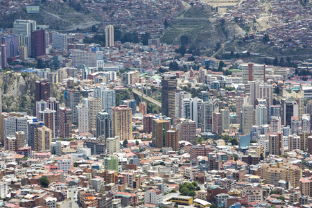 la paz: LA PAZ, BOLIVIA, JANUARY 4: Aerial view of La Paz during the day, capital of Bolivia. Downtown of the city with a lot of residential buildings. Bolivia 2015