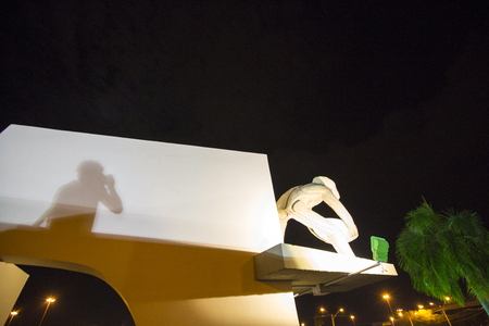 prospector: Sculpture named O Garimpeiro (The Prospector) at night, Boa Vista, Roraima, Brazil.