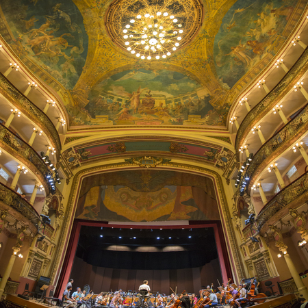 amazonas: MANAUS, BRAZIL, MARCH 21: Interior of the Amazon Theatre (Portuguese: Teatro Amazonas) with orchestra and a few people. Manaus, Amazonas Brazil 2015