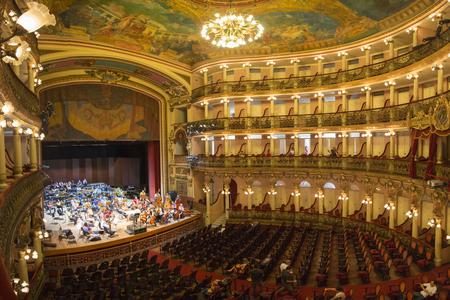 Interior of the Amazon Theatre Portuguese: Teatro Amazonas with orchestra and A Few celebrities. Manaus, Amazonas Brazil 2015 Editorial