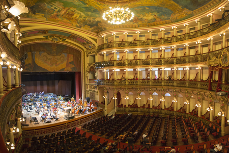 frontage: Interior of the Amazon Theatre Portuguese: Teatro Amazonas with orchestra and A Few celebrities. Manaus, Amazonas Brazil 2015 Editorial