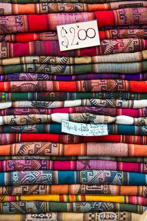 artisanry: Colored blankets for Sale in Salta tourist market. North of Argentina