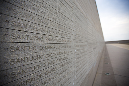 BUENOS AIRES, ARGENTINA, NOVEMBER 20: Details of the wall from the Parque de la Memoria in Buenos Aires, (Memory Park) memorial monument to the victims of the military dictatorship. Argentina 2015