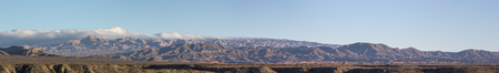 ruta: Incredible panorama of the Andean colored mountains of Cachi with a clear blue sky. Ruta 40, Salta, Argentina