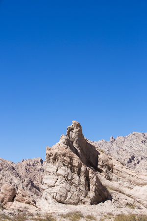 ruta: Abstract rock formations with blue sky along the famous Ruta 40 (Route 40) within Calchaqui Valleys in Salta Province. Argentina Stock Photo