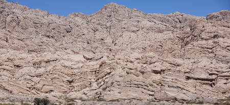 ruta: Panorama of abstract rock formations with blue sky along the famous Ruta 40 (Route 40) within Calchaqui Valleys in Salta Province. Argentina