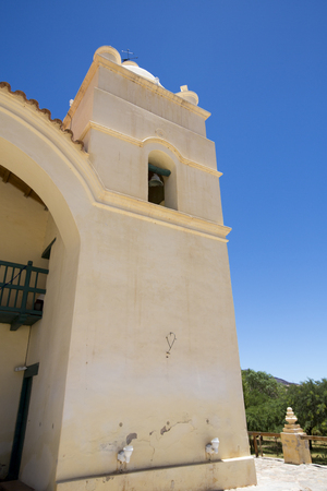 san pedro: Details of 18th century Church of San Pedro in Molinos with blue sky, Calchaqui Valley, Argentina
