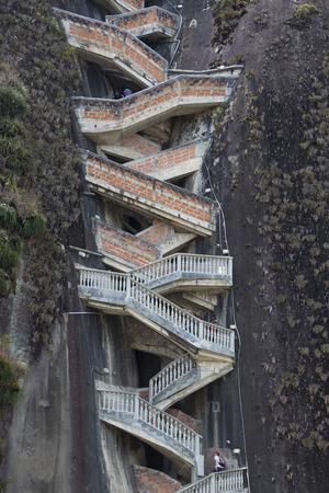 medellin: GUATAPE, COLOMBIA, MARCH 12: Details of steep steps rising up Piedra el Penol, near Medellin, Colombia 2015