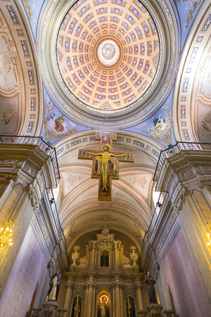 Interior of the Cathedral Basilica and Sanctuary of the Lord and the Virgin of the Miracle. Salta is a city located in the Lerma Valley, north west of Argentina Editorial