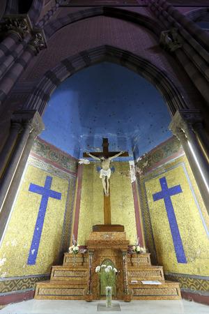 corazon: Religious sign details inside the colored interior of the Capuchins Church (Iglesia del Asacrado Corazon) in the center of Cordoba. Argentina