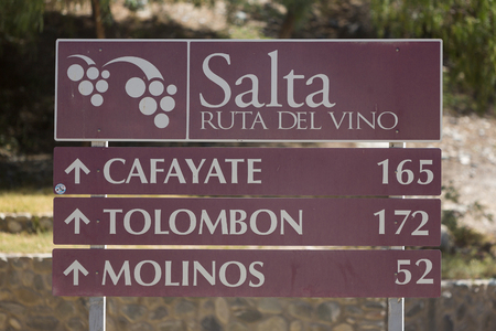 wine road: SALTA, ARGENTINA, DEC 24: Directional sign road on the Ruta Del Vino written in Spanish or Route of the Wine. Salta Province. Argentina