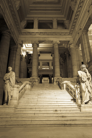 palais: Palais de Justice, national courthouse in Brussels, Belgium. Sepia image.