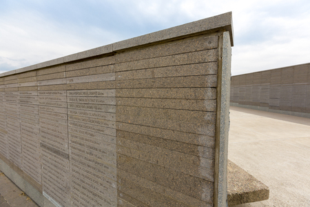 dictatorship: Details of the wall with the names of the victims in the Parque de la Memoria in Buenos Aires, Memory Park memorial monument to the victims of the military dictatorship. Argentina 2015