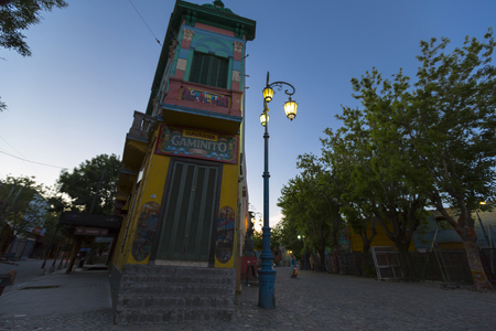 la boca: Outdoors view of famous Caminito street and architecture in La Boca neighborhood of Buenos Aires at dusk, Argentina 2014