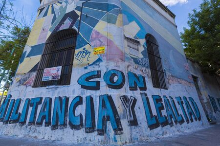 sedition: Political colored graffiti in the center of Buenos Aires designed by unknown artist. Argentina 2014 Editorial
