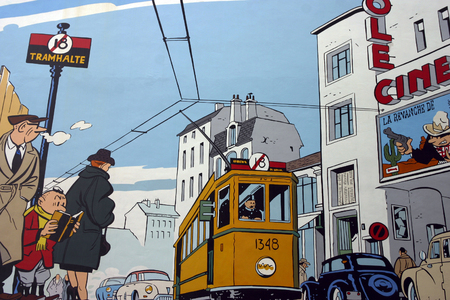 Comic wall painting in Brussels. Belgium is famous for ict comics. 2006 Editorial