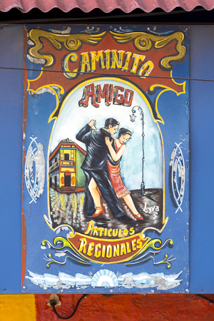 la boca: Closeup of colorful wooden sign in Caminito Tango famous street in La Boca neighborhood of Buenos Aires, Argentina 2014