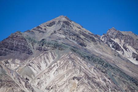 aconcagua: Mountain peaks with clear blue sky at the Aconcagua National Park. Landmark near Mendoza, Argentina Stock Photo