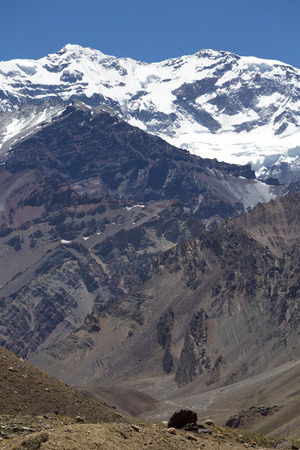 Details of the Aconcagua mountain peak with clear blue sky at the Aconcagua National Park. Landmark near Mendoza, Argentina