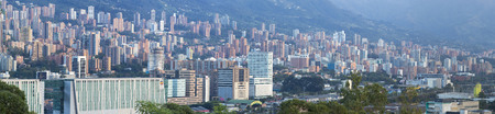 antioquia: Aerial view of Medellin with residential and office buildings. Colombia 2015