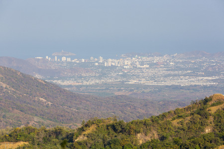 marta: Aerial view of Santa Marta city and the ocean from Minca hills. Colombia
