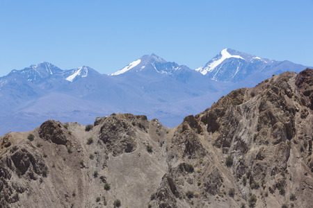 aconcagua: Incredible panorama of the Pampa El Leoncito National Park with the Aconcagua mountain in the background. San Juan Province. Argentina