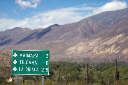 ruta: Direction road sign to Tilcara and La Quiaca along the ruta 40 (Route 40) in the Quebrada de Humahuaca valley. Jujuy Province. Argentina Stock Photo