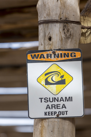 Tsunami Warning Sign Danger Zone on wooden pylon in Rodeo with blurred background. Argentina 2014 Stock Photo