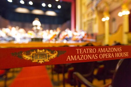 amazonas: Details of classical interior of the Amazon Theatre Portuguese: Teatro Amazonas. Manaus, Amazonas Brazil 2015 Selective focus Stock Photo