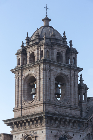 Tower of the historic Iglesia de la Compania in Cusco. Peru. The church dates back to 1571 and sits on top of an old Inca .