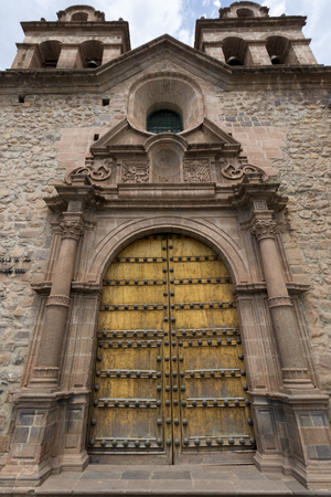 Details of the doors from the historic Iglesia de la Compania in Cusco. Peru. The church dates back to 1571 and sits on top of an old Inca Palace. Editorial