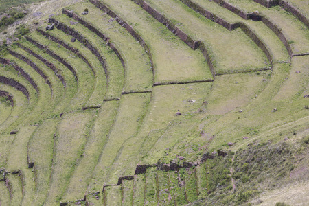 sacred valley of the incas: Details of round agricultural terraces of Incas at Moray, Sacred Valley, Peru