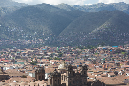 plaza de armas: Aerial view of the city of Cusco and the Plaza de Armas, Peru Stock Photo