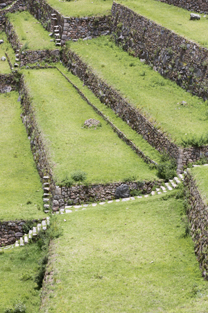 sacred valley of the incas: Details of agricultural terraces of Incas at Moray, Sacred Valley, Peru