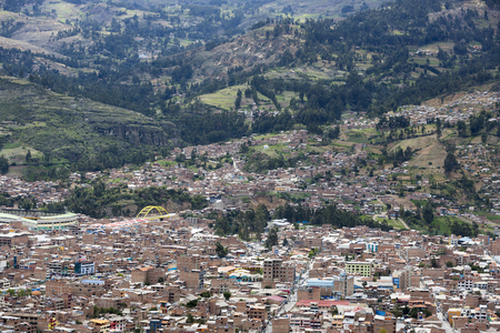 ancash: Aerial city view view of Huaraz town, capital of the Ancash Region (State of Ancash) and the seat of government of Huaraz Province.