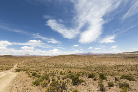 lipez: Panorama of 4x4 track in desert in the mountains of Eduardo Avaroa Andean Fauna National Reserve with cloudy blue sky, Bolivia
