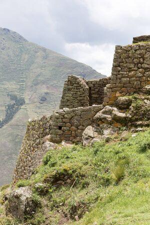 pisaq: Inca ruins of Pisac in the sacred valley in the Peruvian Andes near Cusco. Peru