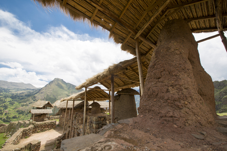 Details of Inca ruins of Pisac in the sacred valley in the Peruvian Andes near Cusco. Peru