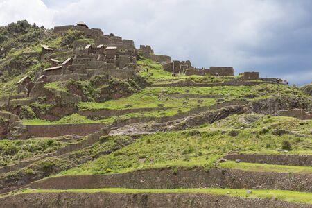 inca ruins: Inca ruins of Pisac in the sacred valley in the Peruvian Andes near Cusco. Peru