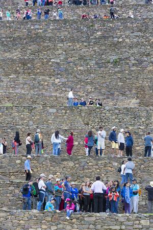 inca ruins: Group of tourists visiting Ollantaytambo Inca ruins. Peru 2015