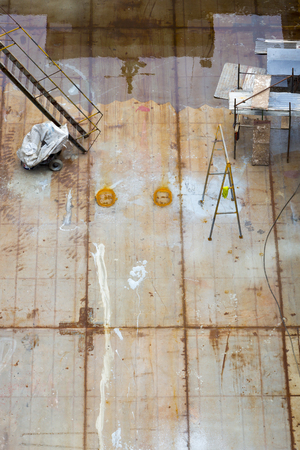 drydock: Top view of boat under construction in shipyard in Manaus. Amazon, Brazil 2015