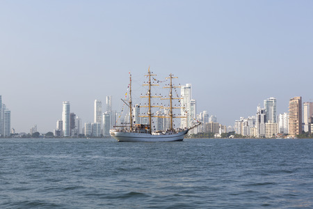 padilla: Cadets from the Naval Almirante Padilla school on the ARC Gloria in Action During Their training early in the morning in the bay of Cartagena, Colombia, 2014.