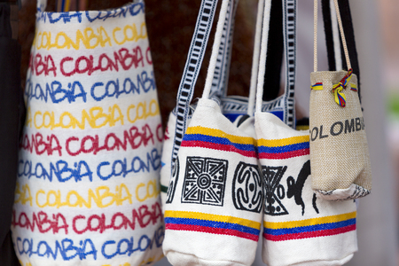 Souvenir bags for sale in Bogota, Colombia. They are called mochilas and are typical of the Wayuu Indians