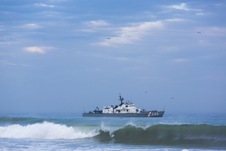 drug dealers: Peruvian coast guard in action on the coast of Mancora looking for drug dealers in Peru in 2015.