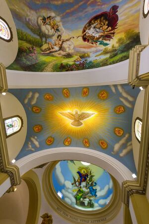 adorning: Colorful paintings Adorning the ceiling of Trujillo Cathedral in the historic Plaza de Armas of Trujillo, Peru 2015 Editorial