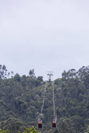 low angle view: Low angle view of the cable car going up to the Igelsia Monserrate in Bogota. Colombia 2015