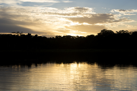 amazon rain forest: Sunset on lake in Serere Reserve Madidi located in the Bolivian Amazon rain forest. Bolivia 2015