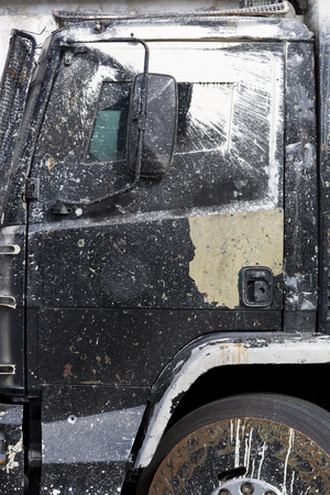 border patrol: Closeup of old anti riot Police During The truck used in Venezuela popular uprising in 2014.