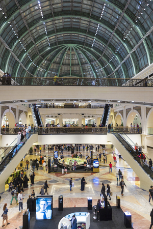 arched: Interior and wide arched roof in Shopping Mall of the Emirates in Dubai downtown. United Arab Emirates in 2016 Editorial