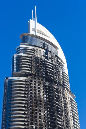 inferno: Five stars Dubai hotel fire: Inferno at 63-storey Address Downtown hotel near Burj Khalifa on the 31st December 2016. UAE